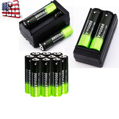9900mAh Powerful 18650 Battery 3.7v Li-ion Rechargeable Battery & Charger 10Pcs.