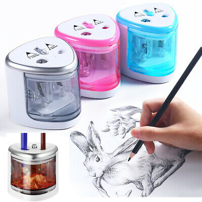 Electric Automatic Pencil Sharpener Dual Holes Battery Operated School Office
