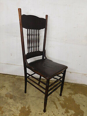 Antique c1900 Larkin #1 Pressed Oak Spindle Back Chair ORIGINAL FINISH!