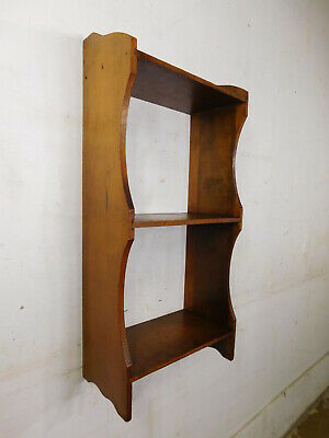 """1920s Chairside Petite Grandpa Made Wood Bookcase Hanging or Standing 27"""" TALL"""