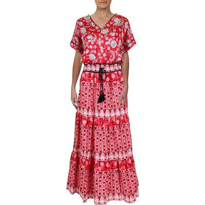 Lauren Ralph Lauren Womens Morowa Red Floral Print Maxi Dress 16 BHFO 3957
