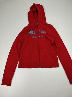 Girls Hollister Red Zip Up Hoodie Jumper L Large