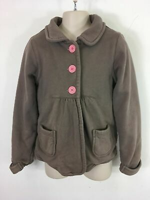 Girls Mini Boden Brown Pink Cotton Button Up Fit & Flare Pretty Coat Age 9-10