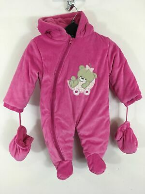 Bnwt Girls Sweet & Soft Pink Zip Up All In One Snow Suit Age 12 Mths Rrp $75