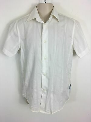 Girls Jasper Conran Ivory Cotton Patterned Short Sleeve Button Up Blouse Age9-10