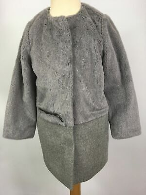 Girls Childs Next Grey Wool Blend Faux Fur Smart Coat Unicorn Graphics Age 5Yrs