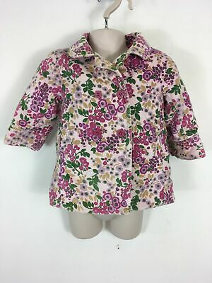Girls Baby Gap Pink Multi Floral Brushed Cotton Button Up Light Coat 12-18 Mths
