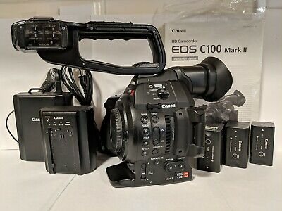 CANON EOS C100 Mark II Cinema Camera with Dual Pixel Body + 3 Canon  Batteries