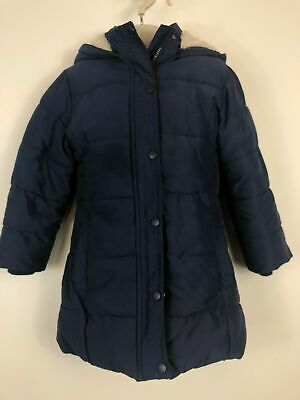 Girls John Lewis Navy Blue Padded Puffer Puffa Faux Fur Hooded Zip Winter Coat 7