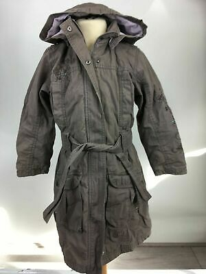 Girls Next Brown Cotton Embroidered Zip Up Hooded Padded Belted Coat Age 5-6Yrs