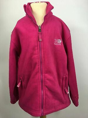 Girls Karrimor Bright Pink Zip Up Fleece Jumper Sweater Jacket Coat Age 11-12
