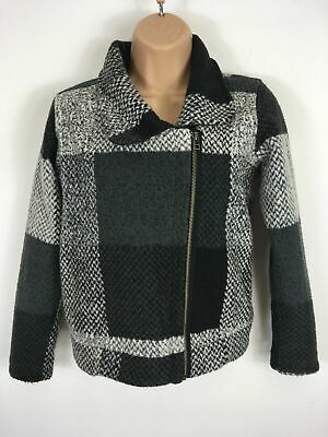 Girls Next Black Grey Wool Style Patterned Zip Up Smart Short Jacket Age 12 Yrs