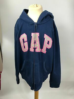 Girls Gap Kids Navy Blue Pink Logo Embroidered Hooded Hoodie Zip Up Jacket 13Yrs