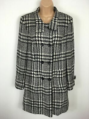 Womens Bianca Black White Check Wool Mix Double Breasted Smart Fitted Coat Uk 10