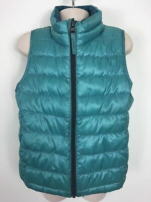 Childs Uniqlo Turquoise Zip Up Down Feather Padded Light Bodywarmer Gilet Age3-4
