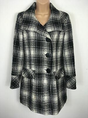 Womens Guess Black White Wool Mix Tartan Large Button Up Smart Fitted Coat Small