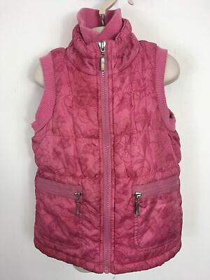 Girls Pumpkin Patch Pink Floral Fleece Lined Zip Up Padded Bodywarmer Age 5 Yrs