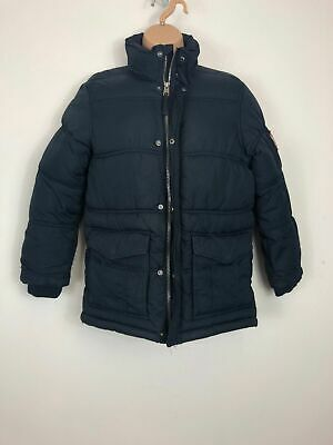 Girls H&M Navy Blue Padded Puffer Puffa Zip Up Press Stud Winter Coat 9-10 Yrs