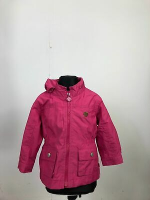 Girls Baby Gap Pink Logo Print Long Sleeve Zip Away Hood Coat Jacket 18 Months