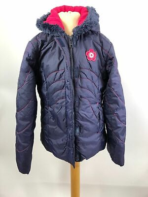 Girl's Mother Care Navy Blue Pink Detail Long Sleeve Zip Up Puffer Coat 9-10Yrs