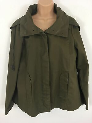 4da7587b Womens Gap Olive Green Button Large Hood Casual Short Flare Jacket Coat Uk  12