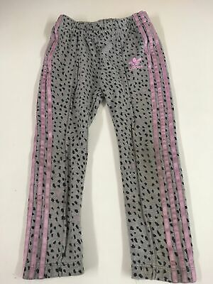 Girls Adidas Grey Spotty Pink Satin Striped Jogging Bottoms Trousers Age 3-4