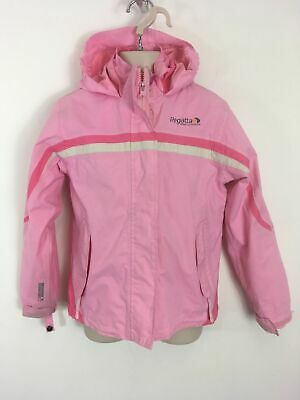Girls Regatta Waterproof Pink Zip Up Hooded Lightweight Jacket Coat Age 7-8
