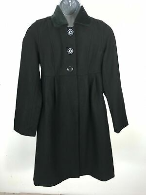 Girl's Child's Gap Black Wool Blend  Button Up Warm Winter Frock Coat Size XL