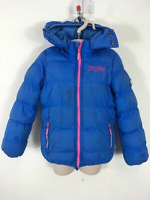 Girls Cars Jeans Blue Pink Zip Up Hooded Fleece Lined Padded Jacket Coat Age 4-5