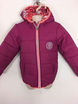 Girls Wed'ze Red Orange Purple White Padded Zip Hooded Reversible Coat Age 3 Yrs