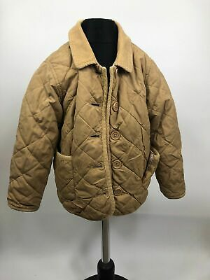Girls Gap Baby Beige Long Sleeve Button Up Quilted Coat Jacket Kids Size 4 Years
