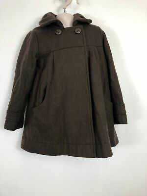 Girls Vertbaudet Brown Ruched Collar Buttoned Flare Winter Coat Age 5