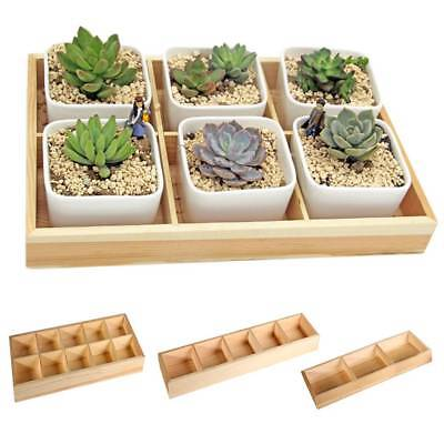 3-10Grid Wooden Succulent Plant Fleshy Flower Pot Box Tray Decorative Containers