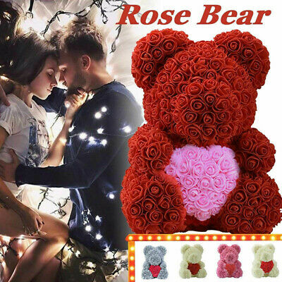 Romantic Rose Doll Bear Artificial Decor Flower Birthday Party Wedding Gifts