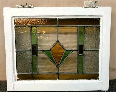 Vintage Stained Glass Window with wooden frame (Antiques).