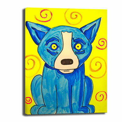 Blue Dog cartoon art HD print canvas picture home decor wall art painting 24X32