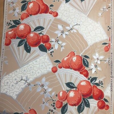 Authentique PAPIER PEINT ANCIEN 1920 FRUITS Wallpaper Tapetenpapier CARTA PARATI