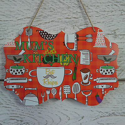 Retro Vintage Red Bake & Cook Wooden Plaque Mum's Kitchen Best Recipes Sign