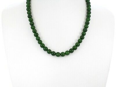 "0.3""China Certified Nature Hetian Nephrite Green Jade Round Beads Necklace 2479"