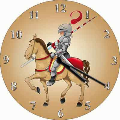 NOVELTY WALL CLOCK - Knight in Shining Armour Design - Childrens Wall Clock