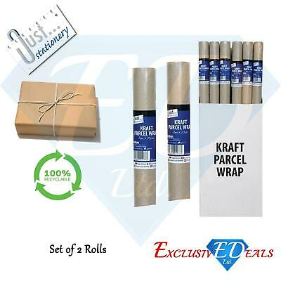 2 Rolls of Brown Kraft Parcel Paper for Packing and Wrapping Parcels - 4M x 70cm