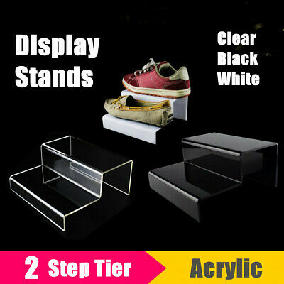 2 Tier Step Acrylic Display Riser Stand Shoes Jewellery Retail Counter