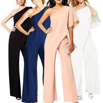 Women One-piece Solid One Shoulder High Waist OL Wide Leg Jumpsuit Trousers New