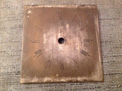 Antique Clock Dial Silvered Brass 79x81mm Uncleared Unrestored