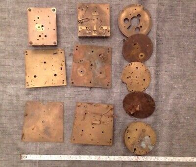 Antique Clock movement plates brass, clock makers Spareparts