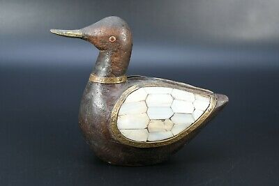 Rare Hand Crafted Old Duck Statue Vintage Brass Fitted Wooden Swan Figure Nepal