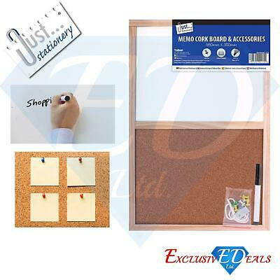 Framed Memo Cork Board & Dry Wipe White Board With Accessories 450mm x 300mm
