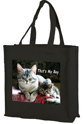 Tabby Cat, Cotton Shopping Bag, That's My Boy - Choice of Colours.