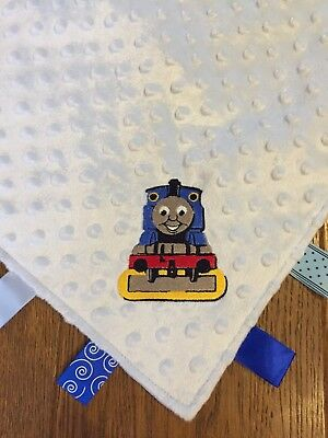 Personalised Baby Taggie Taggy Comforter Comfort Blanket With Thomas the Tank