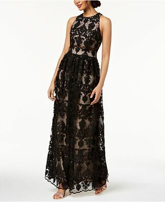 03b9d1044d1f $398 Betsy & Adam Black Sequined Embroidered Lace Crew-Neck Formal Dress  Size 12